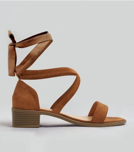 Teens Tan Suedette Tie Up Sandals | New Look