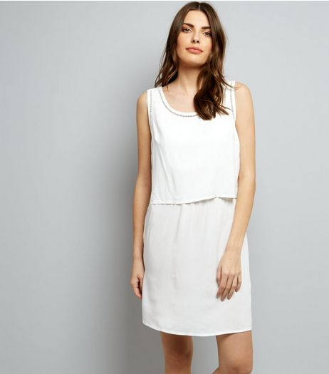 JDY White Cut Out Trim Layered Sleeveless Dress | New Look