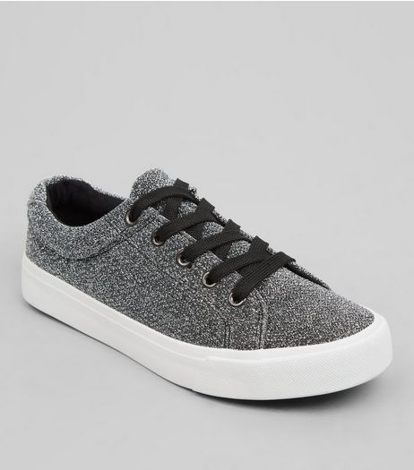 Teens Silver Glitter Trainers | New Look