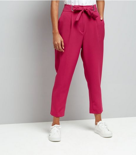 Petite Bright Pink Eyelet Tie Waist Tapered Trousers | New Look