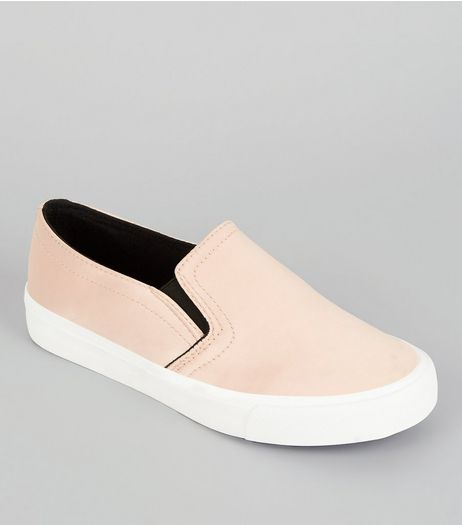 Teens Nude Sateen Contrast Trim Plimsolls | New Look
