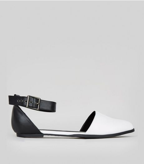 Wide Fit White Ankle Strap Pointed Sandals  | New Look