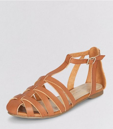 Teens Tan Caged T-Bar Sandals | New Look