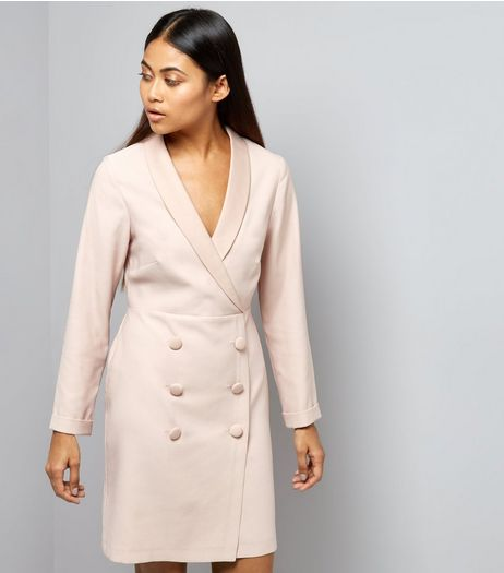 Petite Shell Pink Tuxedo Dress | New Look