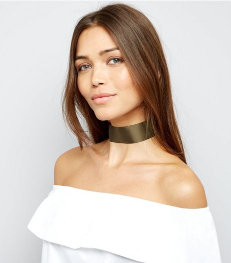 Khaki Wide Ribbon Choker | New Look