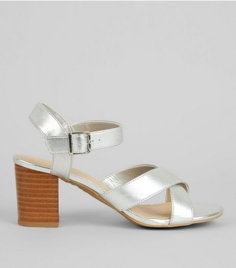 Teens Silver Cross Strap Contrast Block Heels | New Look
