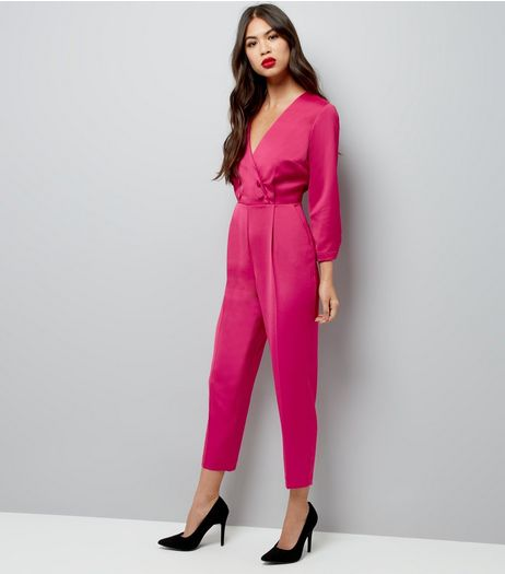 Petite Bright Pink Satin Tuxedo Jumpsuit | New Look