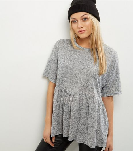 Petite Grey Frill Hem Short Sleeve Top  | New Look