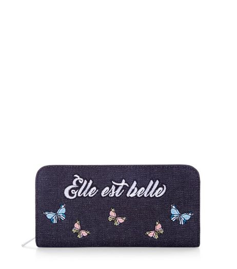 Navy Elle Est Belle Embroidered Purse | New Look