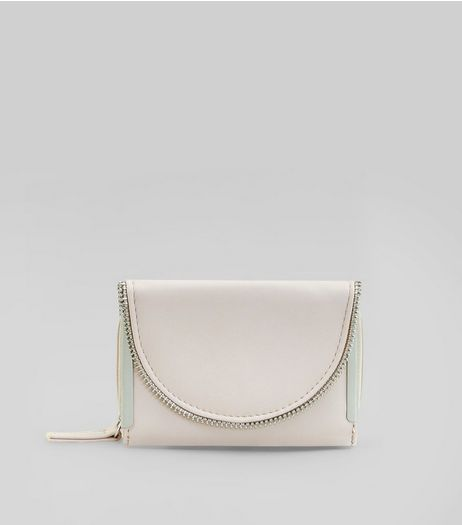 Cream Zip Edge Fold Over Purse | New Look