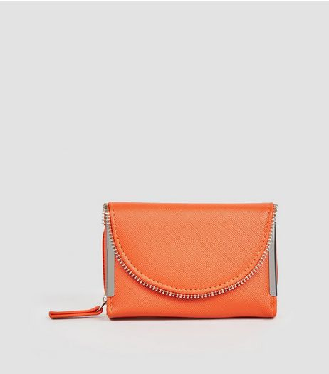 Orange Zip Edge Fold Over Purse  | New Look