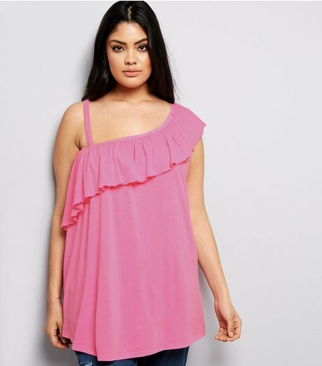 Curves Pink Asymmetric Frill Off The Shoulder Top | New Look