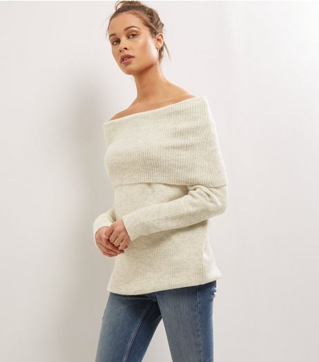 Cream Bardot Longline Jumper | New Look