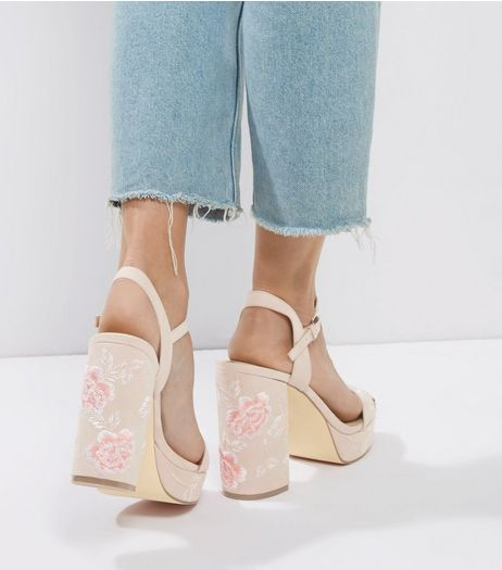 Light Pink Floral Embroidered Platform Heels | New Look