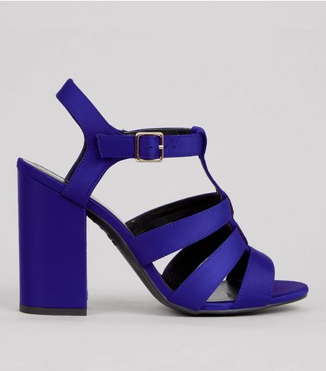 Blue Satin Gladiator Block Heels | New Look