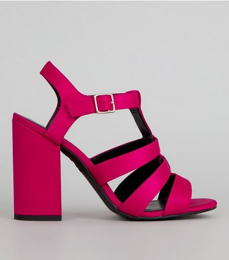 Pink Sateen Gladiator Block Heels | New Look