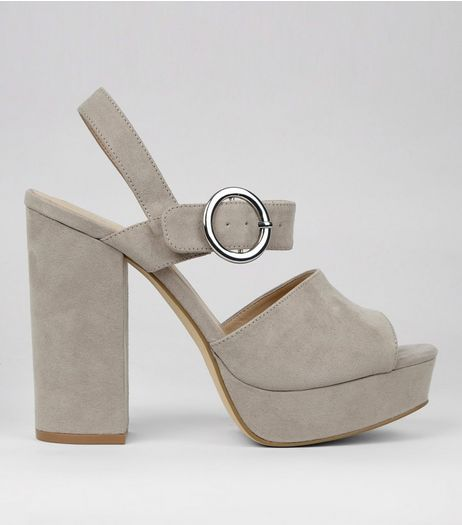 Grey Suedette Buckle Side Platform Heels | New Look