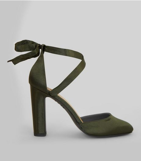 Khaki Satin Tie Up Heels | New Look