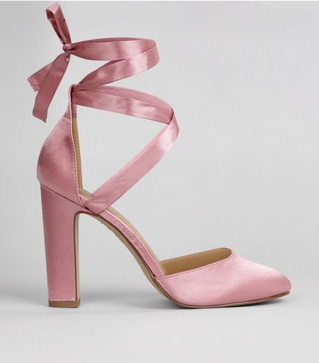 Pink Satin Tie Up Heels | New Look