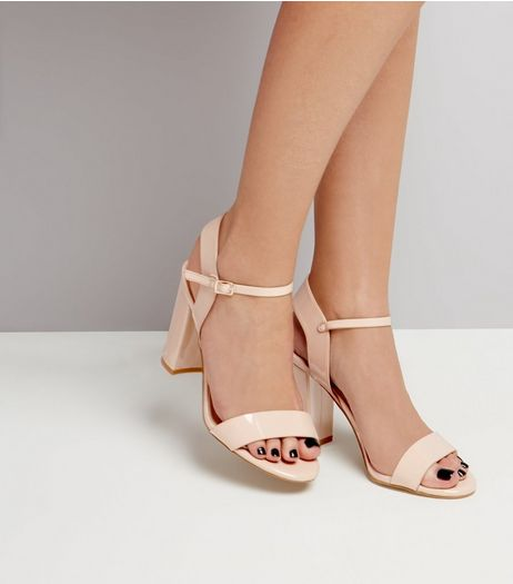 Nude Pink Patent Ankle Strap Heels | New Look