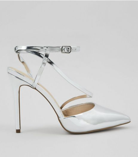 Silver Asymmetric Strap Top Pointed Heels | New Look