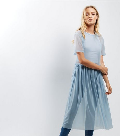 Blue Mesh Frill Trim Smock Dress | New Look