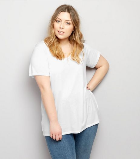 Curves White Scoop Neck T-Shirt | New Look