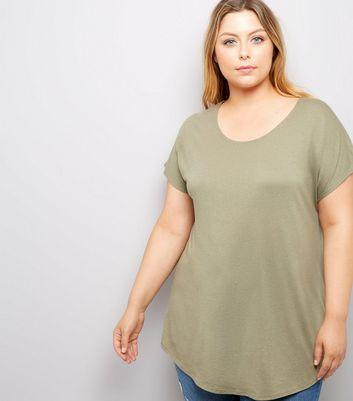 Curves Khaki Scoop Neck T-Shirt