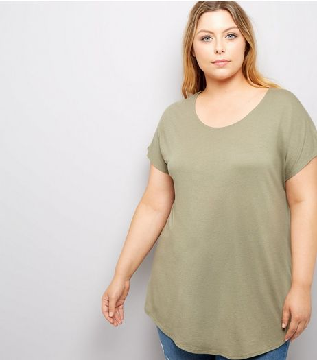 Curves Khaki Scoop Neck T-Shirt | New Look