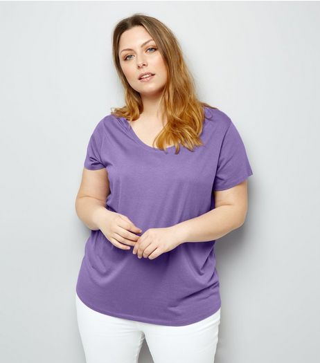 Curves Purple Scoop Neck T-Shirt | New Look