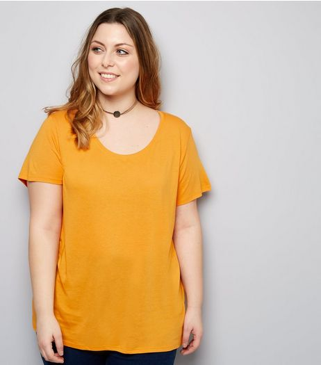 Curves Orange Scoop Neck T-Shirt | New Look