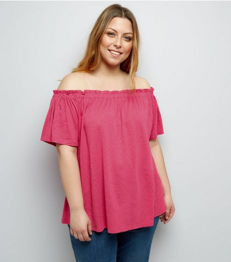 Curves Bright Pink Shirred Bardot Neck Top | New Look