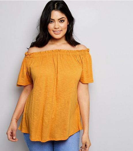 Curves Orange Shirred Bardot Neck Top | New Look