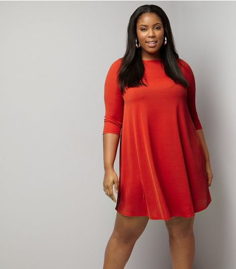 Curves Red Ribbed Swing Dress | New Look