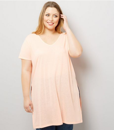 Curves Coral Split Side Longline T-Shirt | New Look