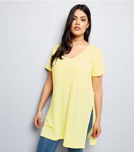 Curves Yellow Split Side Longline T-Shirt | New Look