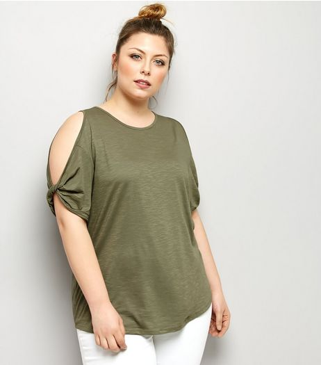 Curves Khaki Twist Sleeve Cold Shoulder T-Shirt | New Look