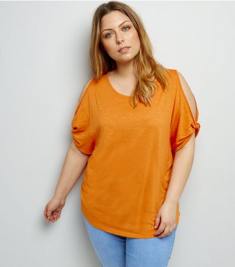 Curves Orange Twist Sleeve Cold Shoulder T-Shirt | New Look