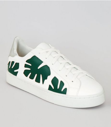 White Leaf Print Lace Up Trainers  | New Look