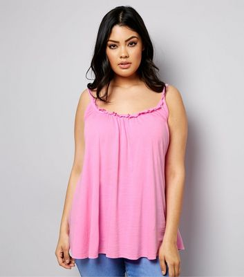 Curves Pink Frill Trim Gathered Cami