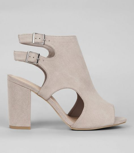 Wide Fit Grey Comfort Suedette Double Strap Sling Back Heels | New Look