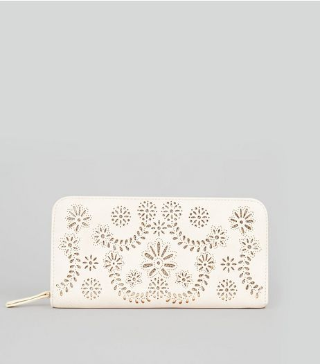 Cream Floral Laser Cut Zip Around Purse | New Look