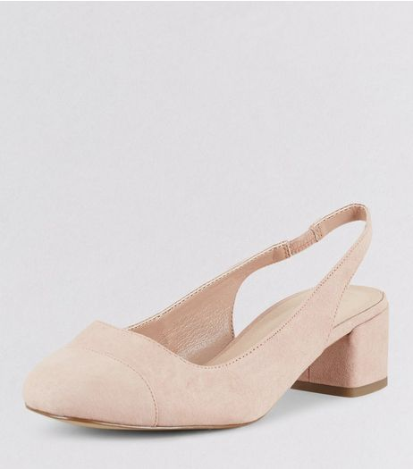 Wide Fit Nude Pink Comfort Suedette Sling Black Mini Heels | New Look