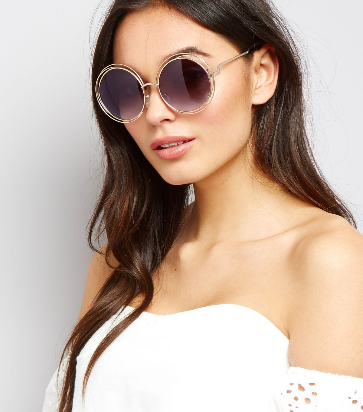Gold Metal Round Sunglasses | New Look