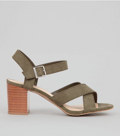 Teens Khaki Suedette Cross Strap Heels | New Look