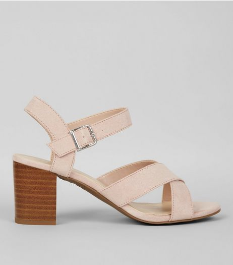 Teens Pink Suedette Cross Strap Heels | New Look