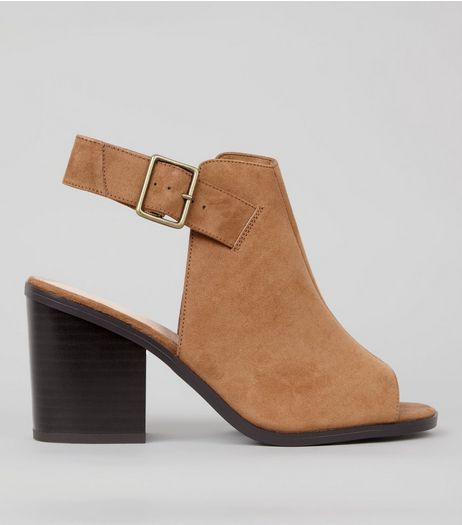 Wide Fit Tan Comfort Suedette Peep Toe Heels | New Look