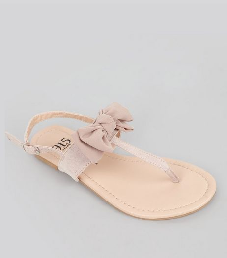 Teens Pink Suedette Bow Front Sandals | New Look