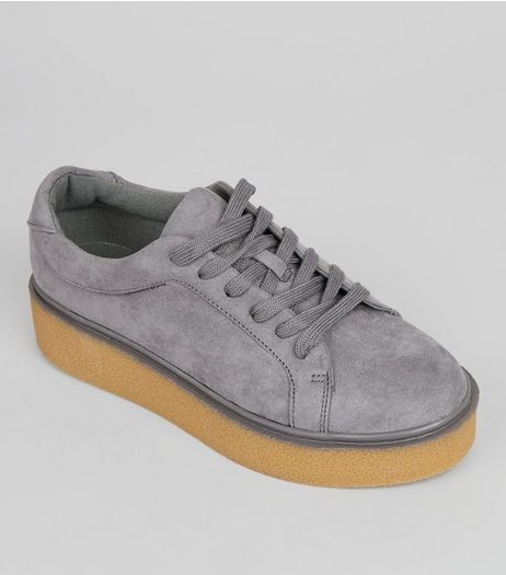 Teens Grey Suedette Contrast Sole Creepers | New Look