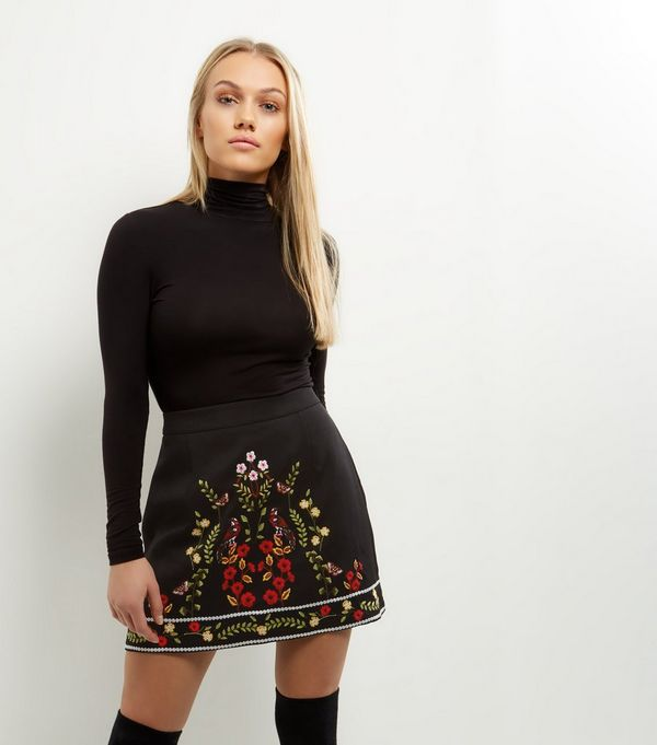 Petite Black Floral Bird Embroidered A-Line Mini Skirt